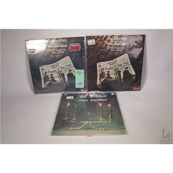 """Three Beatles LPs including two copies of """" The Beatles Featuring Tony Sheraidan ( one factory seale"""