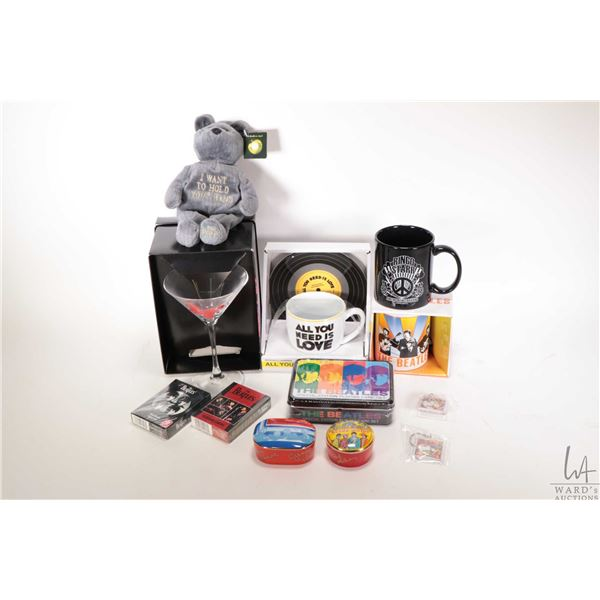 """Selection of Beatles collectibles including Beatles Bears """"I want to hold your hand"""" bear, sealed pl"""