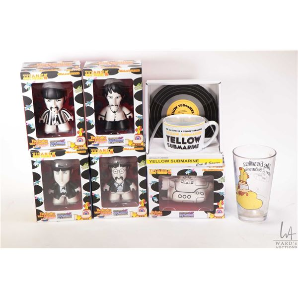 """Selection of Beatle collectibles including five Titans 4.5"""" vinyl figures; one of each band member a"""
