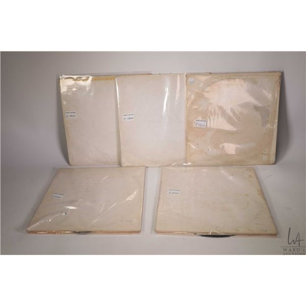 Five copies of the Beatles White Album, all black vinyl including serial numbers: A0308572, 0802809,