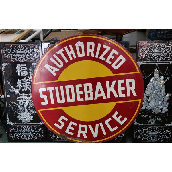 """1940's Studebaker Authorized Service two sided metal sign, 42"""" in diameter. Note: Not Available For"""