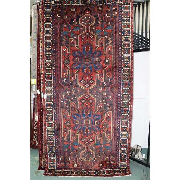 100% Iranian Bakhtiar wool area carpet with double medallions, triple border, red background and hig
