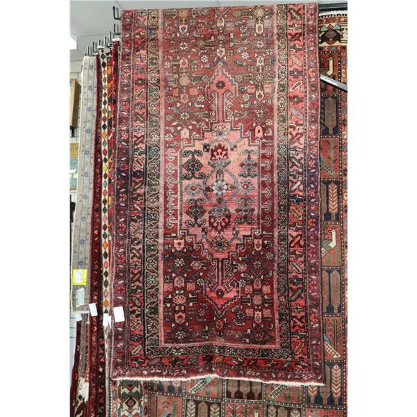 100% Iranian Hamadam wool carpet runner with double medallion, red background, stylized floral desig