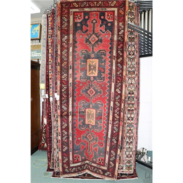 100% Iranian Zanjan wool carpet runner with double medallion, multiple borders, red background and h