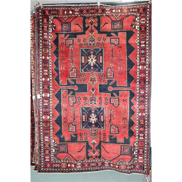 100% Iranian Bakthiar wool area carpet with double medallions, red background and highlights of navy