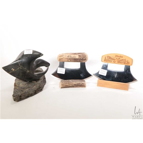 """Inuit soapstone carved fish 5 1/2"""" in height and two skinning ulus knives with stands"""