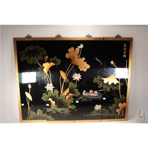 """Four panel Oriental wall plaque with lilly pad and mandarin duck motif, each panel is 36"""" X 12"""". Not"""