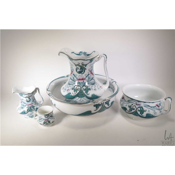 St. Regis Royal Semiporcelain washbasin, water jug, commode set with small jug and cup made by Wood