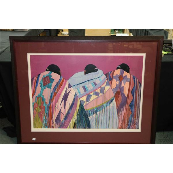 Large framed limited edition print of three native people in blankets, pencil signed by artist Rober