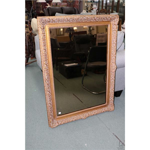 """Gilt framed decor mirror with smoked glass 46"""" x 33 1/2"""" overall dimensions"""