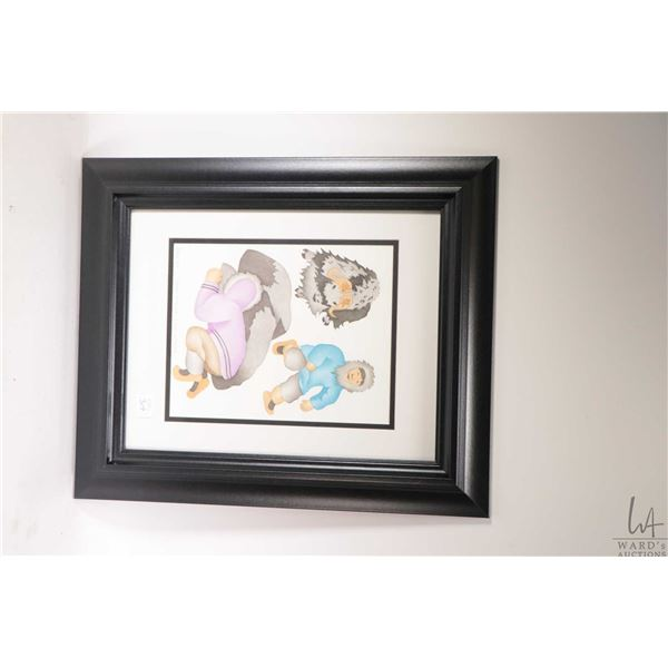 """Framed stencil print titled """"Musk-Ox"""" and pencil by Mabel Nigiyok and Lucy Nigiyok, 9 1/2"""" X 7 1/2"""""""