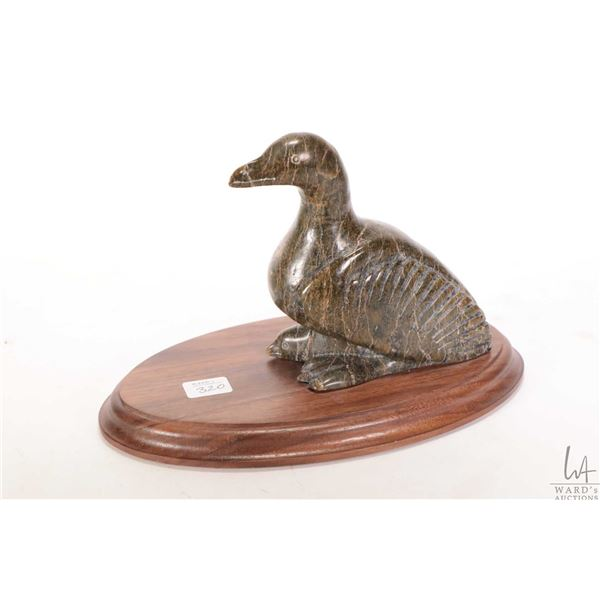 """Soapstone carving of a sea bird with baby on wooden plinth 6"""" in height by Kelly Etidloie, Cape Dors"""
