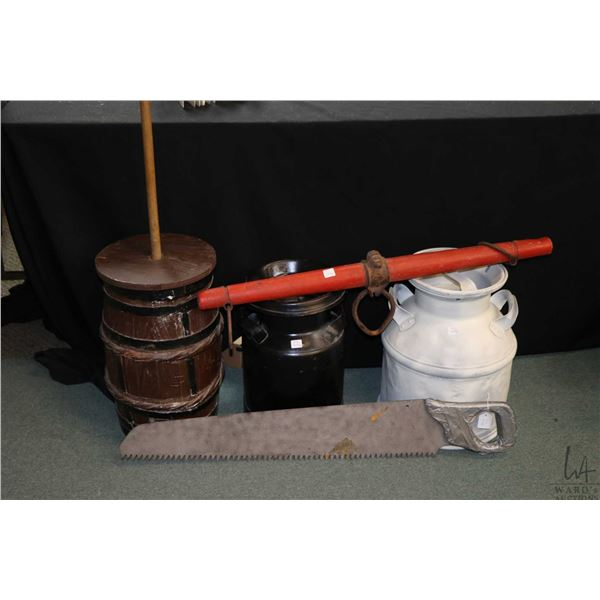 Selection of vintage collectibles including wooden butter churn, two painted cream cans, a yoke and
