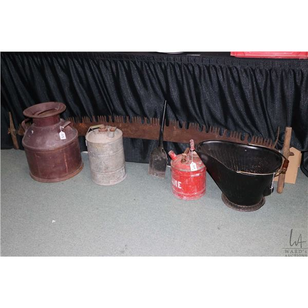 Selection of vintage collectibles including a painted cream can, two vintage gas cans, a coal bucket