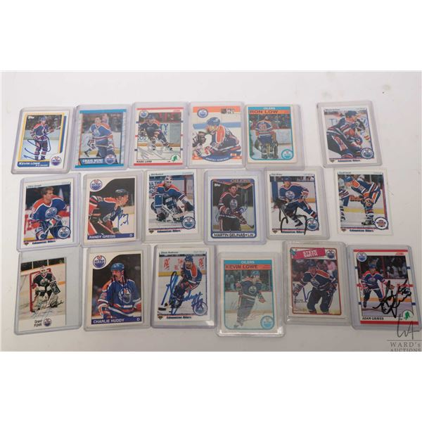 Eighteen vintage hand signed Oilers hockey cards including two Kevin Lowe, Grant Fuhr, Geoff Smith,
