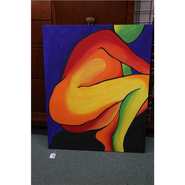 Stretcher framed acrylic on canvas rainbow coloured painting of a nude intialled  K.R.P. by artist a