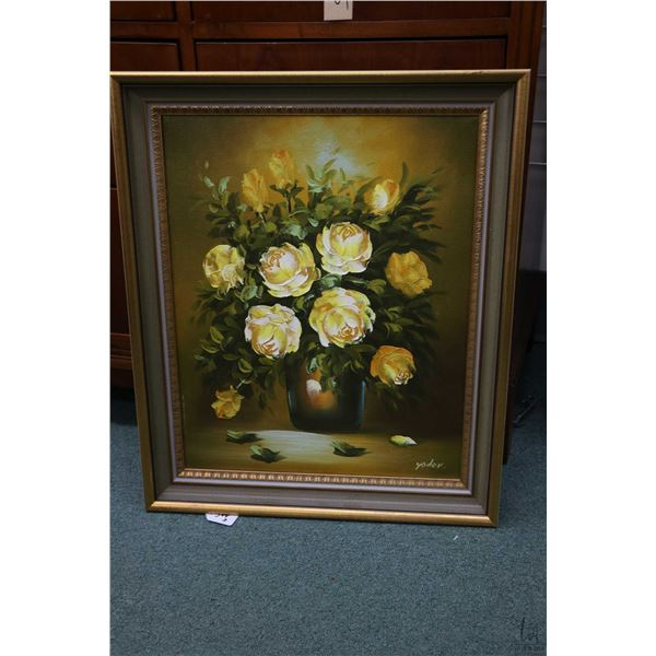 """Two framed acrylic on canvas paintings including rose floral still-life signed by artist Yoder 20"""" X"""