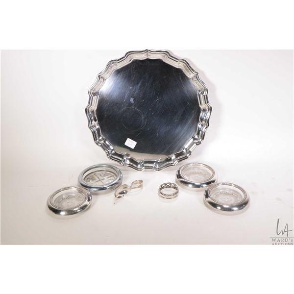 "Birks Regency silver plate 12"" salver, Birks sterling silver baby spoon, sterling napkin ring and fo"