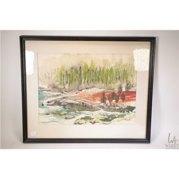Two framed original watercolour paintings including shoreline with birds and a colourful landscape,