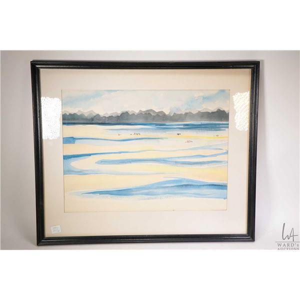 Two framed original watercolour paintings including a landscape hillside and a beach scene, both app