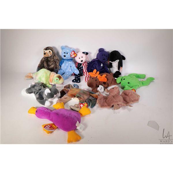 Twelve collectible Beanie Babies including Rainbow the cameleon, Nanook the husky,  Legs the frog, C