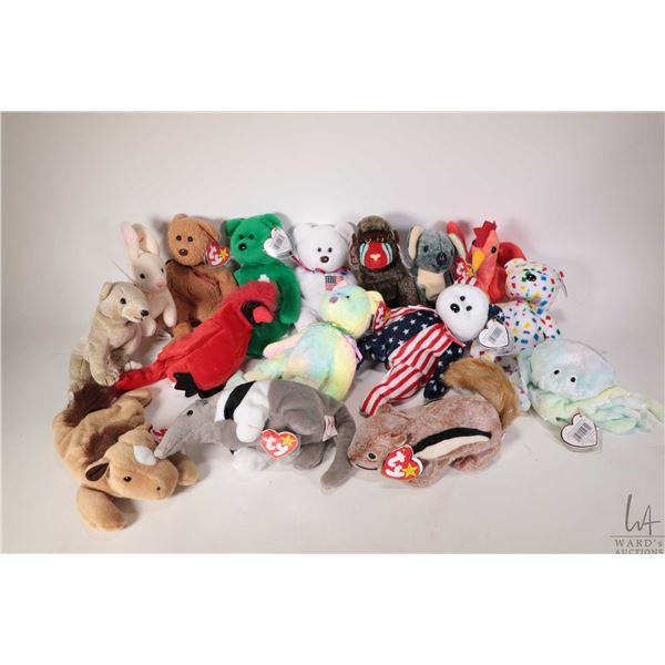 Sixteen collectible Beanie Babies including Mac the red cardinal, Goochy the tie-dyed jellyfish, Alm