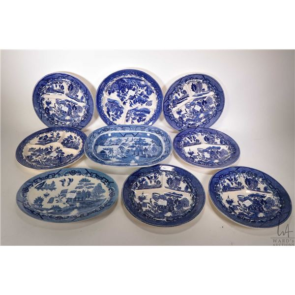 Selection of vintage blue willow including seven divided plates and two oval platters. Note: Not Ava