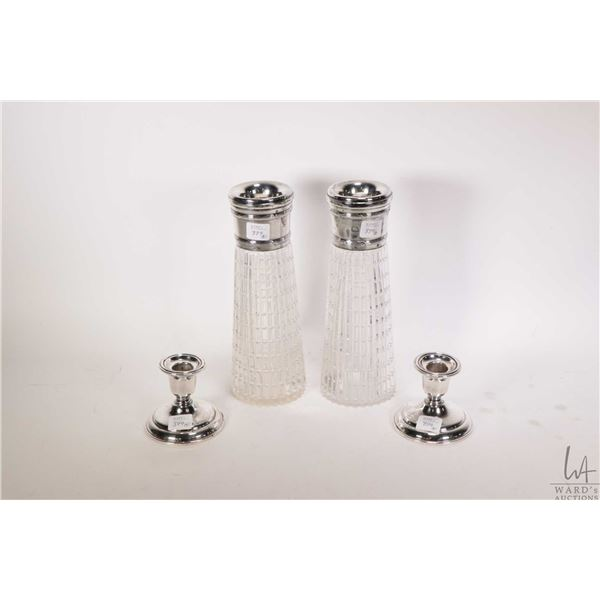 """Two antique flower vase with British hallmarked sterling silver collars 9 1/2"""" in height and a pair"""