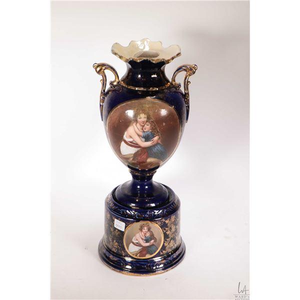 Antique semi porcelain cobalt blue double handled vase with cameo featuring Elizabeth Louise Vigee L