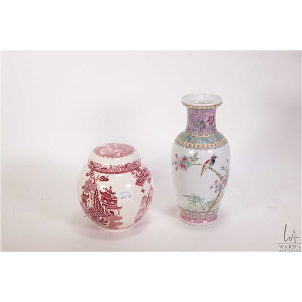 """Handpainted Oriental cylinder vase 11 1/2"""" in height, Mason's lidded ginger jar and a handpainted sm"""