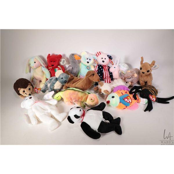 Thirteen collectible Beanie Babies including Spangle, Osito the Mexican Bear, Hippie the Tie-dye Bun