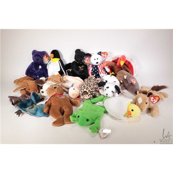 Sixteen collectible Beanie Babies including Spangle the American bear, Gobbles the turkey, Legs the