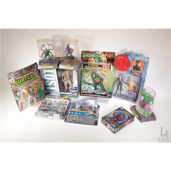 Selection of packaged toys including TMNT Casey Jones, Marvel villians including Hulk, Dr. Octopus a