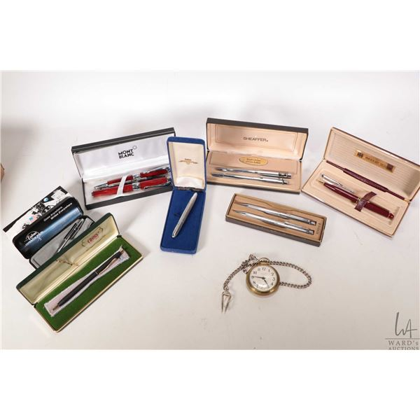 Selection of boxed pens and pencils including Cross, Monte Blanc replica, Sheaffer, two space pens p