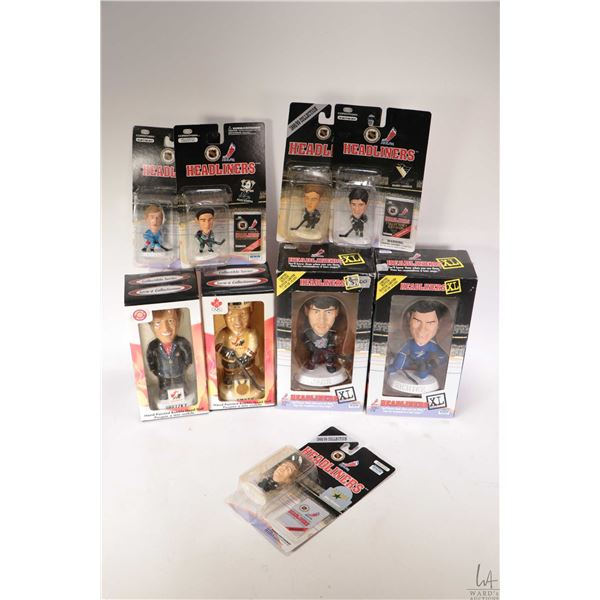 Selection of boxed NHL figures including Jager and Richter by Irwin, Gretzky and Smyth bobble heads