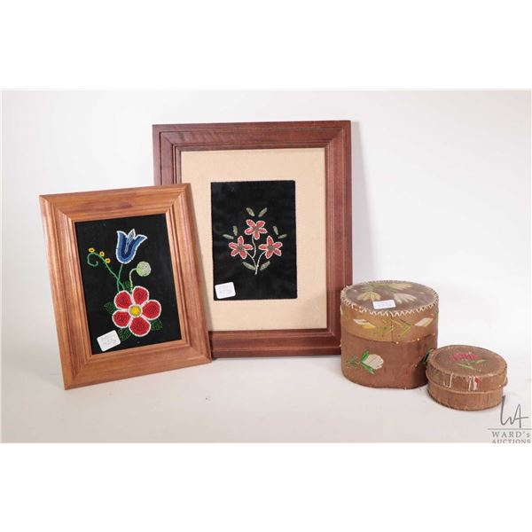 Two vintage birch bark and quill embroidered lidded baskets, a framed bead work floral and a porcupi