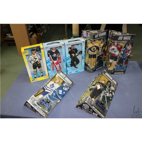 Seven boxed hockey action figures including Jerome Jager and Domic Hasek by Hasbro, Mario Lemieux by
