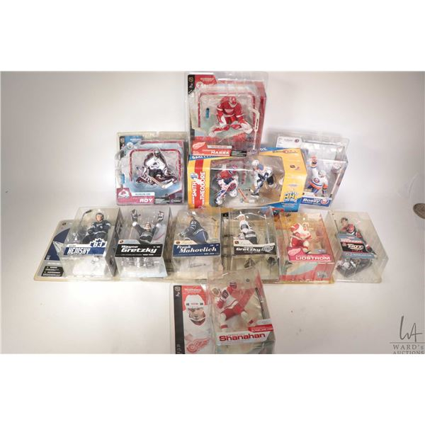 Eleven packaged McFarlane Toys hockey action figures including Patrick Roy, Domick Hasek, Frank Maho