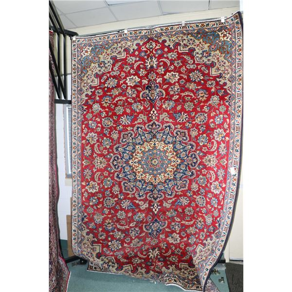100% Iranian Nafaf Abad wool area carpet with floral medallion, overall floral design, double border