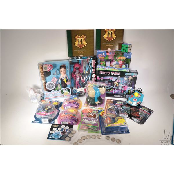 Selection of mostly new in package toys including for the guys silly putty, Stink blasters, Fume Man