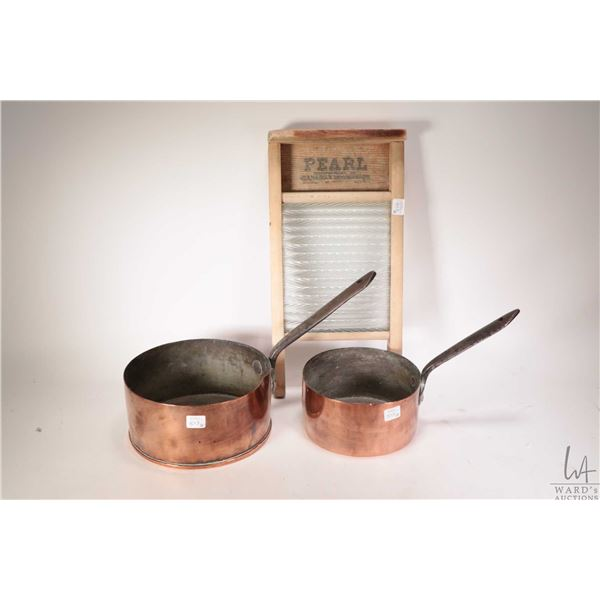 """Two vintage copper sauce pans including 7"""" diameter and 8 1/4"""" diameter plus a small wood and glass"""