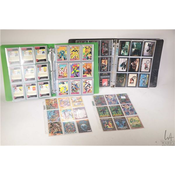 Selection of trading cards including one binder with Harley Davidson cards, one binder with DC Comic
