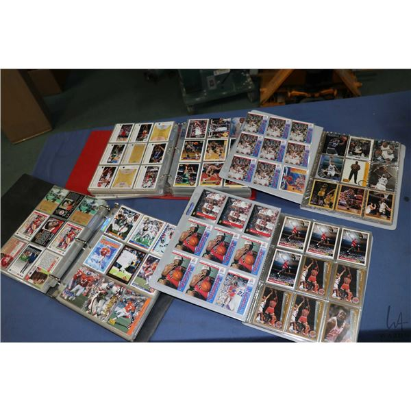Selection of sports trading cards including two large binders with predominantly football, basketbal