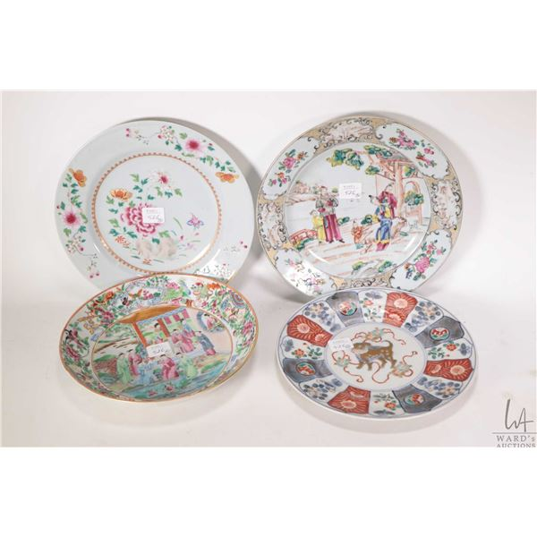 """Three handpainted Oriental plates including Imari with dog 8 1/2"""", floral motif with gilt decoration"""