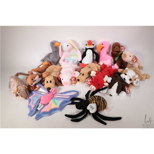 Sixteen collectible Beanie Babies including Wrinkles the bulldog, Snort the bull, Brun the bull terr
