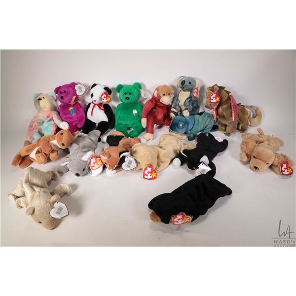 Sixteen collectible Beanie Babies including Scorch the dragon, Zip the black cat, Pouch the Kangaroo
