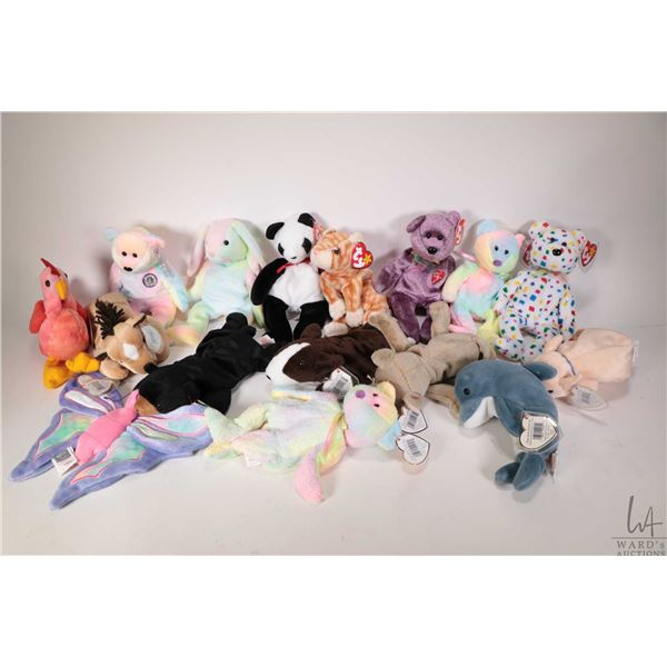 Sixteen collectible Beanie Babies including Derby the horse, Hippie the tie-dyed bunny, Fortune the