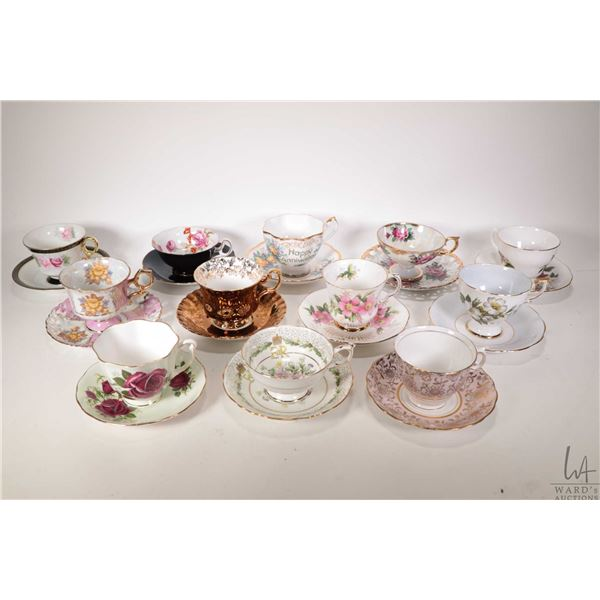 Twelve china cups and saucers including Paragon, Royal Adderley, Royal Albert, Colclough, Queen Anne