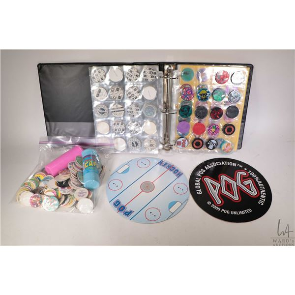 Large selection of Pogs including three ring binder full, zip lock baggy with two plastic carriers,
