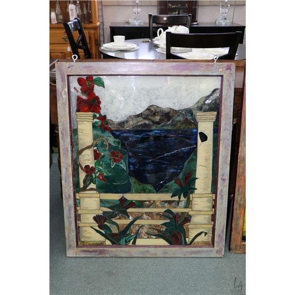 Two framed and one unframed hand painted faux stained glass panels plus an empty frame, outside fram